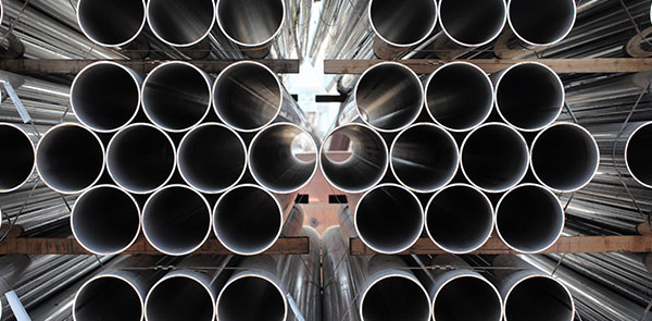 Close-up of industrial steel pipes